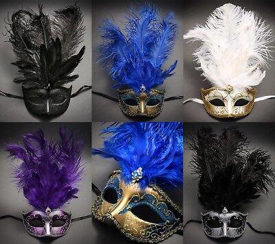Lot of 6 Bulk Venetian Mardi Gras Party Feather Women Masks Masquerade Costume](Mardi Gras Costumes Women)