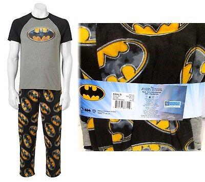 Batman Mens Pajamas ($50 BATMAN-Mens Lounge-Pajamas Shirt Pant Bottom Sleep Set Fleece Black Gray)