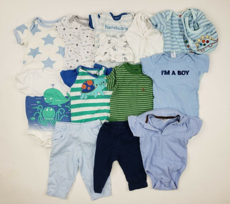 3 & 3-6 Months Boy Clothes Lot Baby Gap Carters Circo Etc Rompers Collar Outfit
