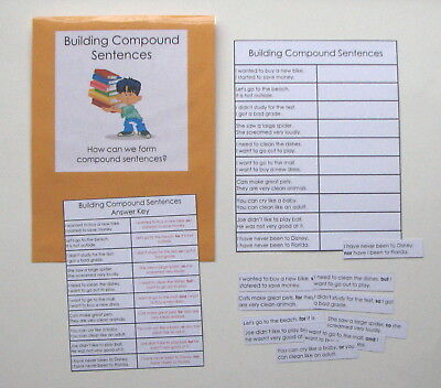 Teacher Made Literacy Center Learning Resource Game Building Compound Sentences