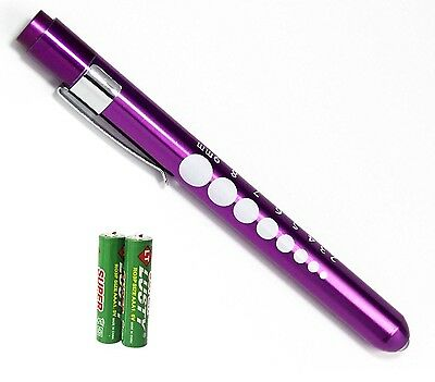 Purple Reusable Nurse Aluminum Penlight Pocket Medical Led Pupil Gaugebatteries