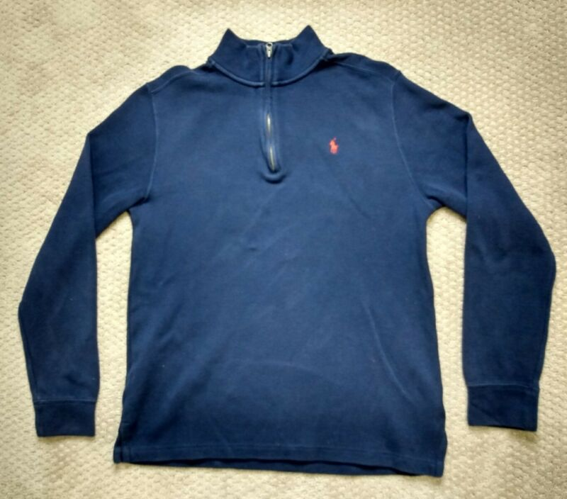 Polo Ralph Lauren Kids Navy 1/4 Zip Pullover Sweater Sz XL (18-20) Long Sleeve