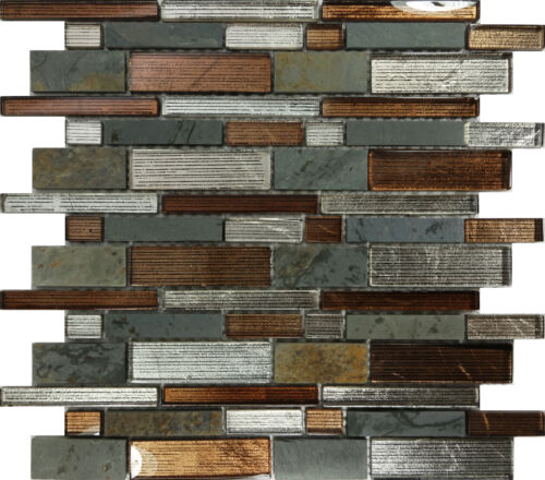 Sample Brown Glass Natural Stone Linear Mosaic Tile Wall: 10SF- Metallic Brown Glass Natural Stone Mosaic Tile Wall