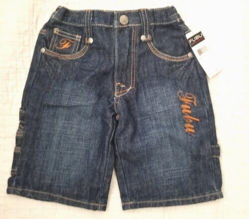 Nwt Fubu Boys Size 2 2T Blue Denim Shorts embroidery logo Jeans New