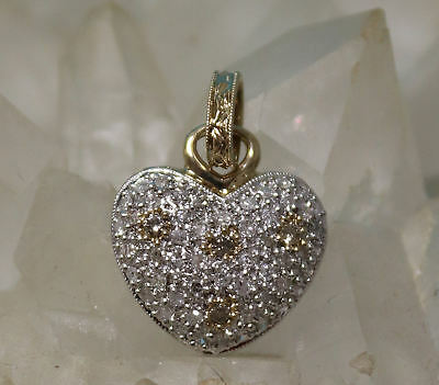 Designer 10K Yellow Gold, White & Chocolate Diamond Heart Pendant! ()