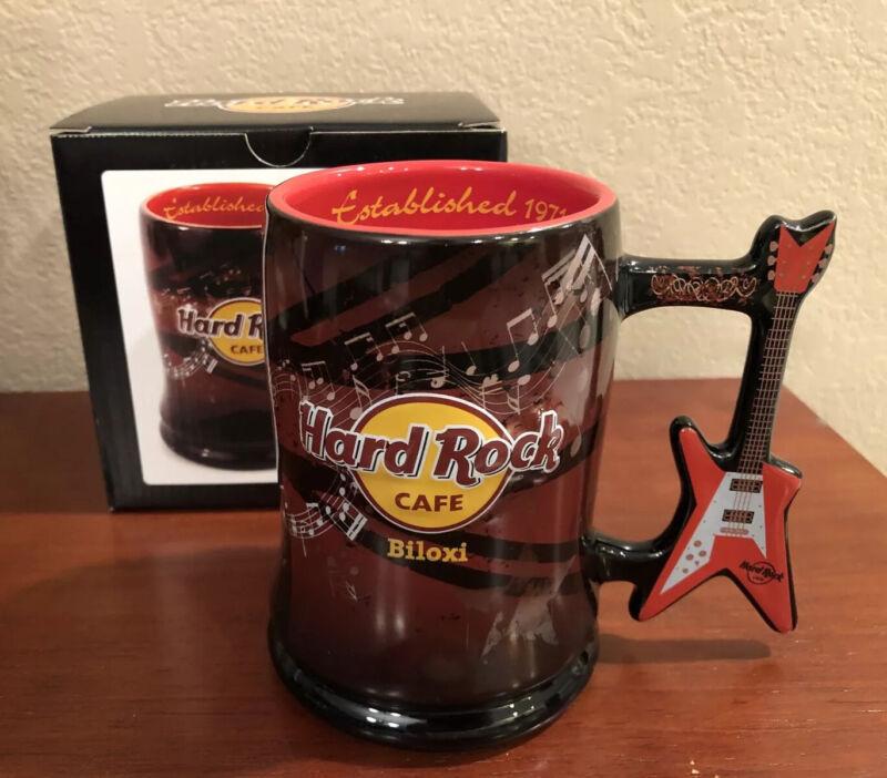 Hard Rock Cafe BILOXI Coffee Mug w/ Guitar Handle & HRC Logo ~ New In Orig Box