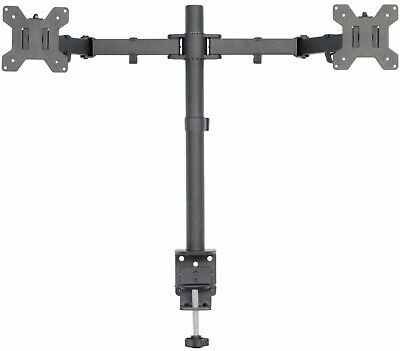 Dual Horizontal Desktop LCD Monitor Table C Clamp Mount Adjustable Up to 27