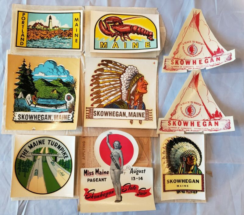 Incredible Lot of 10 Vintage Skowhegan Maine Travel Decals & Stickers Miss Maine