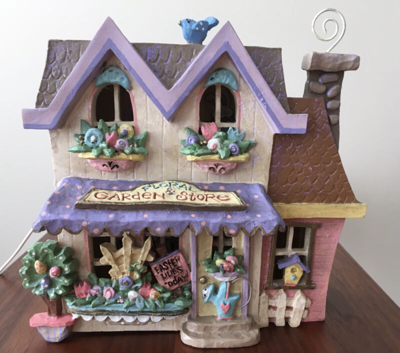 Kurt S. Adler Spring Town Floral and Garden Store Lighted House with Box Works