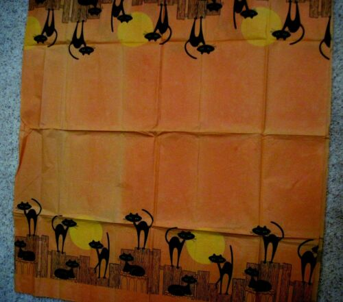Adorable Vintage Halloween Paper Tablecloth w/ Black Cats Around the Edges *