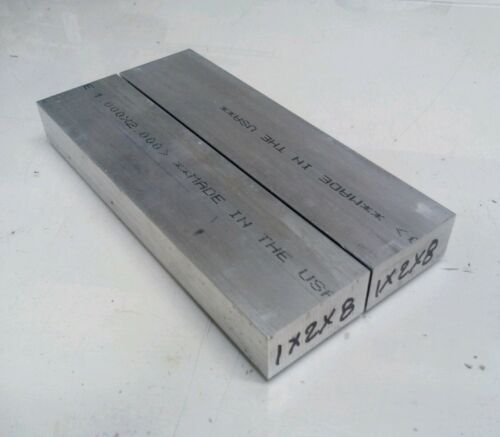 "2 pc 1"" X 2"" new 8"" long 6061 T6511 solid aluminum plate fla"