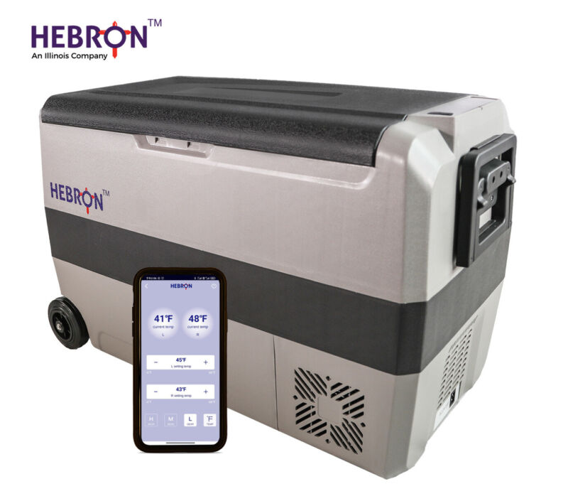 Hebron 47 Quart Dual Zone AC DC Portable Refrigerator/Freezer - RV, Camping