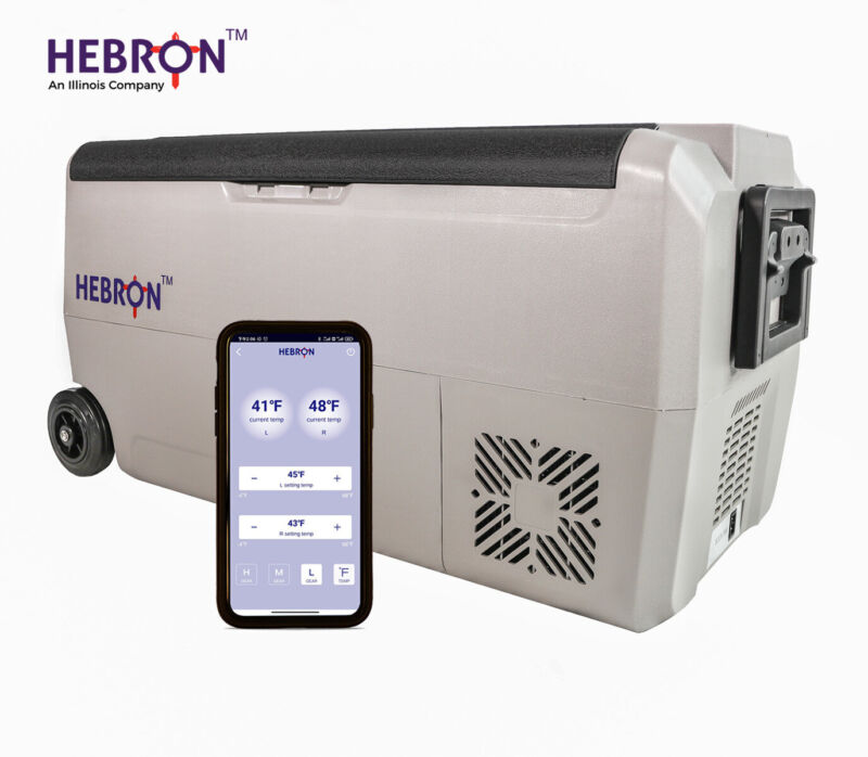 Hebron 33 Quart Dual Zone AC DC Portable Refrigerator/Freezer - RV, Camping