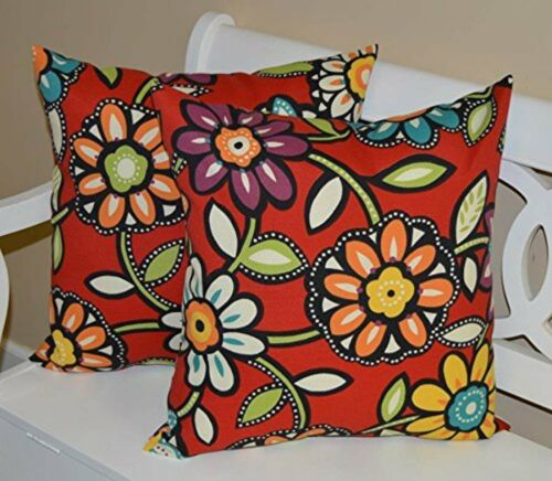 Set of 2 - In/Outdoor Throw Pillows - Red, Blue, Green, Purp