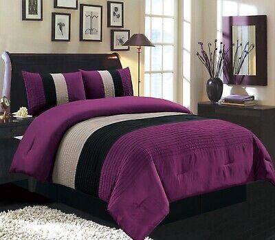 Dark Purple/Black/White Pin Tuck Stripe Regatta Down Alt Comforter Set FULL Size ()