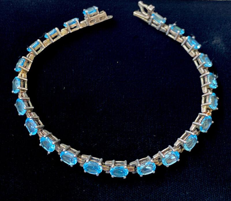VINTAGE DESIGNER SIGNED ALX STERLING SILVER FACETED BLUE TOPAZ BRACELET