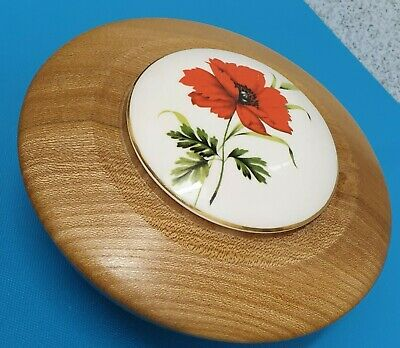 Elm Wood Hand Turned Trinket Dish with Ceramic Lid