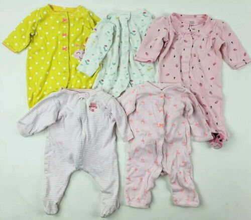 Girls 3 Months Sleepers Lot Carters First Moments.. Baby Clothes 0-3 Months Nb