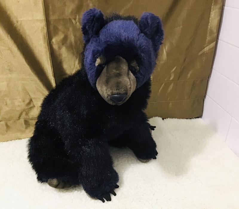 "Hansa Blue Face Black Fur Stuffed Plush Poseable Paws Sitting 21"" Bear Cub HTF"