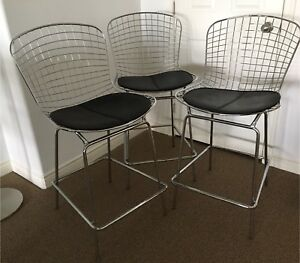 3 Structube Modern Wire Frame Counter/Bar stools  (sold as set)
