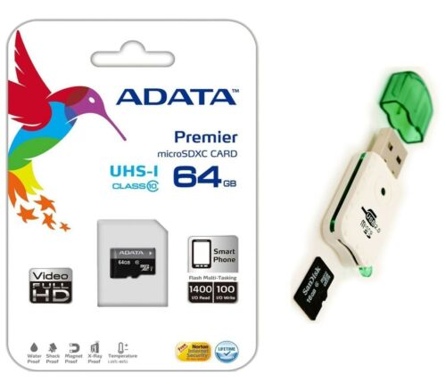 Adata 64gb Micro Sd Sdhc Microsd Flash Memory With Adapte...