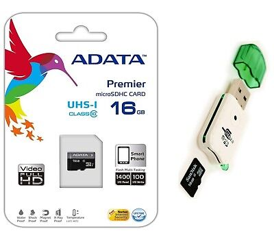 Adata 16GB Micro SD SDHC MicroSD Flash Memory with Adapter + USB Card Reader
