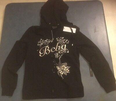 BCBG Max Azria Women's Medium Black Full Zip Hooded Sweatshirt Brand New