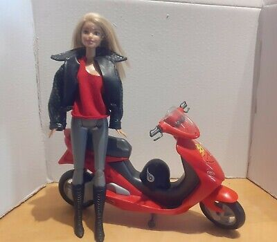 Barbie Red And Black Scooter With Dressed doll Set