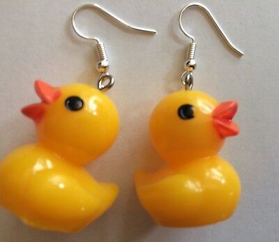 3D RUBBER DUCK Earrings Colorful Charm Ducky Yellow Resin Duckie Plastic - Yellow Plastic Ducks