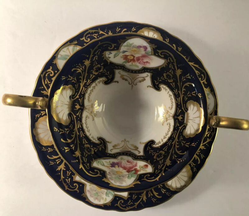 10 Rare Wedgwood China Cobalt & Heavy Gold Trimmed Bouillon Cup & Saucer Sets