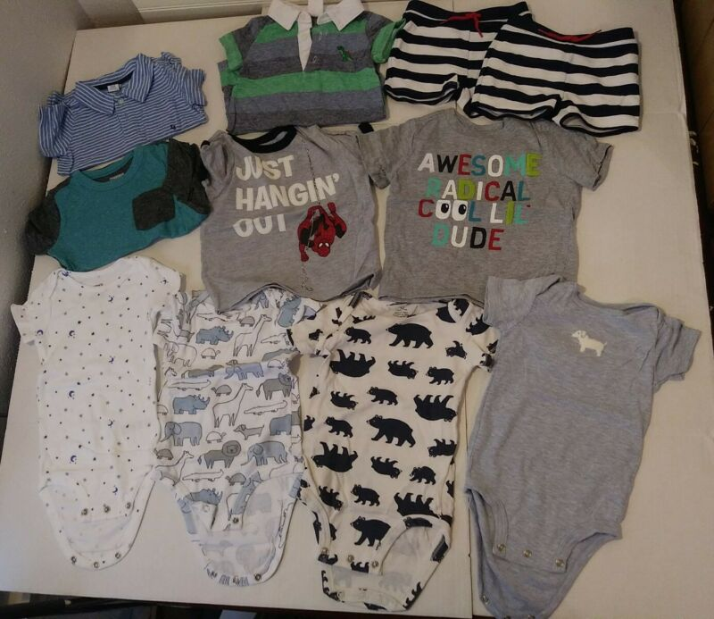 10 Piece Mixed Lot 6-12 Months Boys Baby Clothes Gymboree, Carter