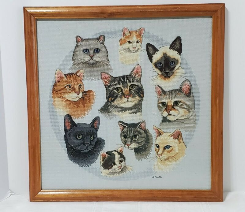 Needlepoint Cats Multi Breeds Heads Framed Signed