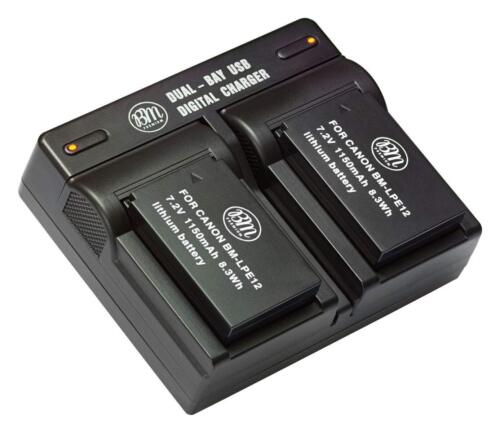 Bm Premium Battery (2-pack) And Dual Charger For Canon Lp-e12
