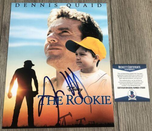 DENNIS QUAID SIGNED THE ROOKIE JIM MORRIS 8x10 PHOTO w/PROOF & BECKETT BAS COA
