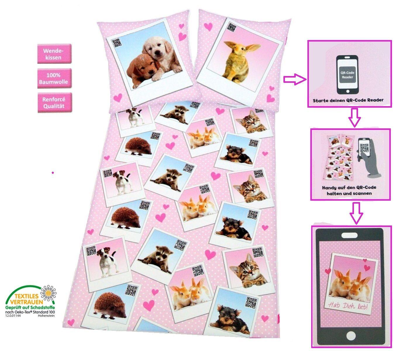 2 pz. scannbare Biancheria da letto per bambini reversibile QR CO. CANE 135 x