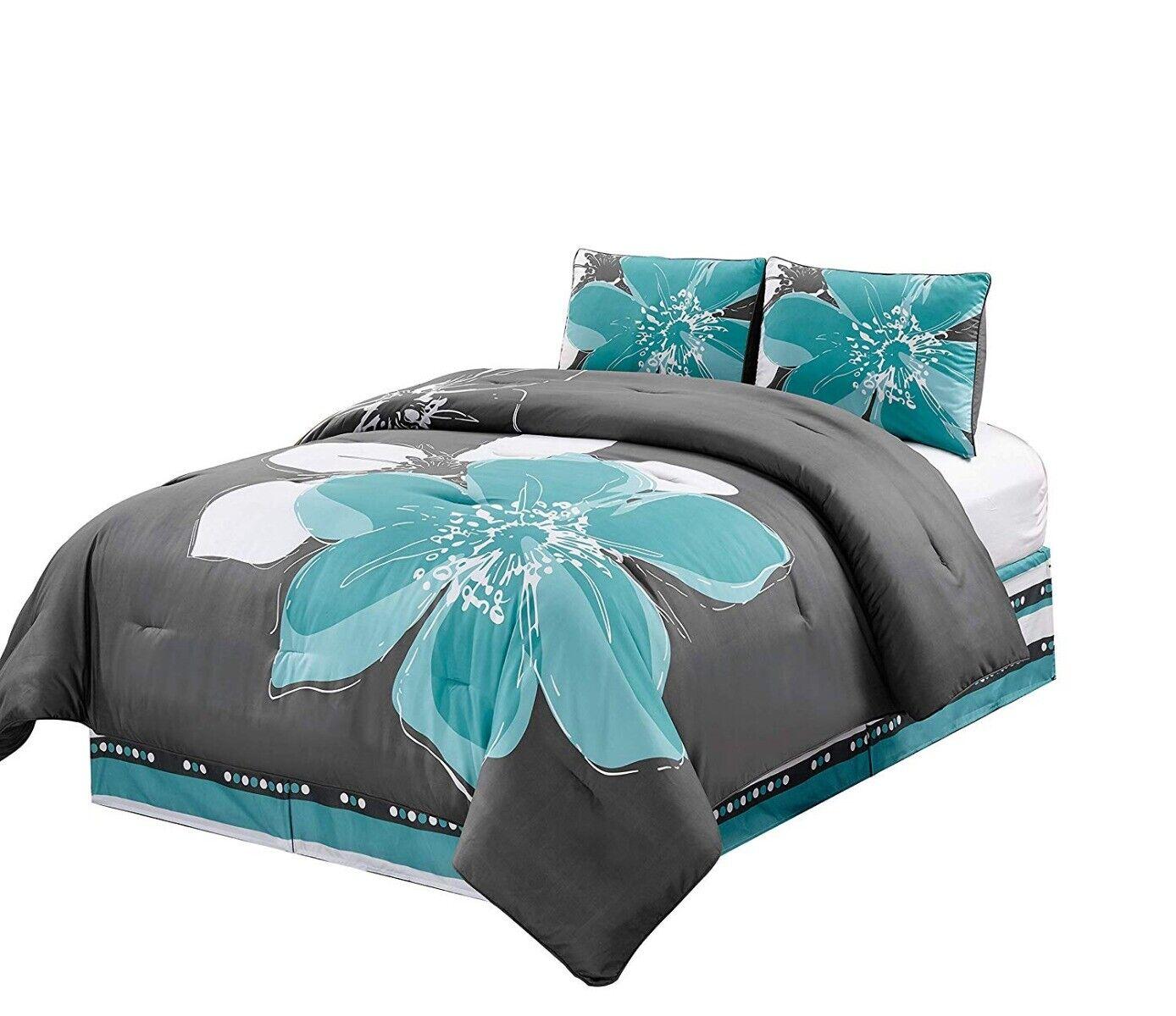 4 Pc Aqua Blue, Grey, White Hibiscus Floral Bedding FULL Siz