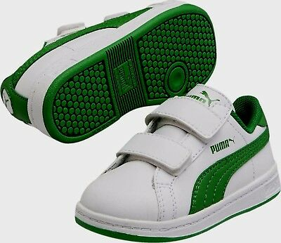 PUMA SMASH L V INFANT TRAINERS WHITE/GREEN SIZE UK 5  BNIB RRP £30