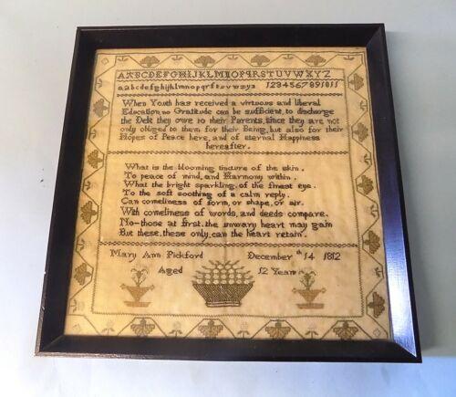 English Antique Georgian Sampler. Mary Ann Pickford. 1812. Alphabet. Poems.