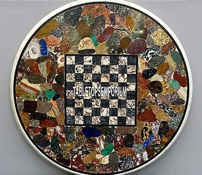 36'' Marble Chess Design Table Top Handmade Collectible Inlay Best Patio