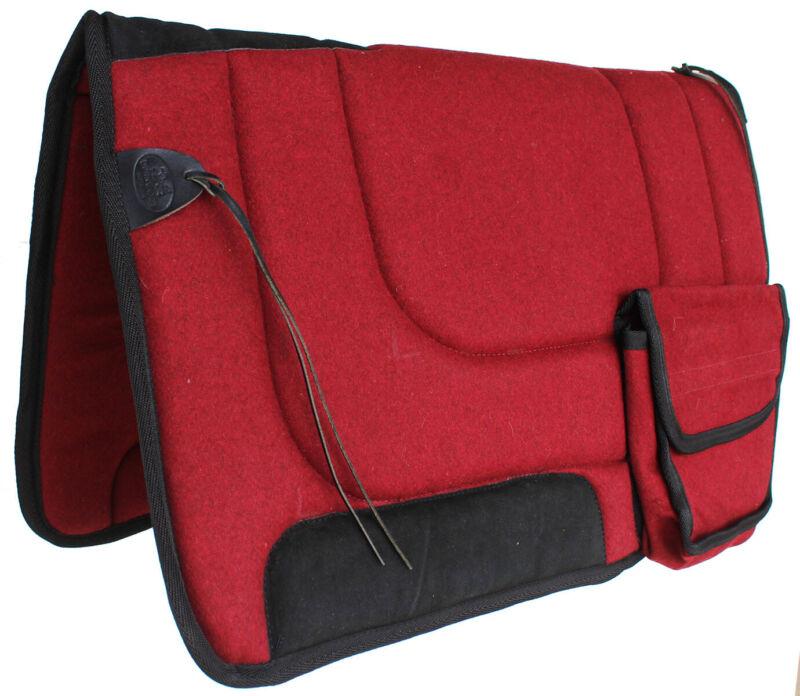 Australian Wool-Felt Trail Rider Comfort Saddle Pad  w/ Bags Maroon 109SP550MR
