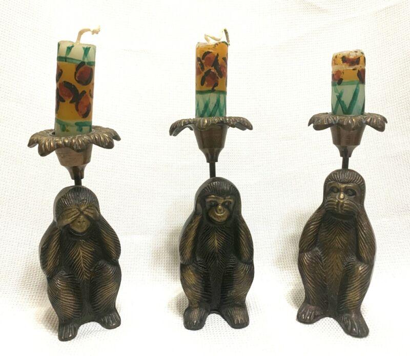 3 Vintage Brass Monkey Candle Holders, See, Hear, Speak No Evil