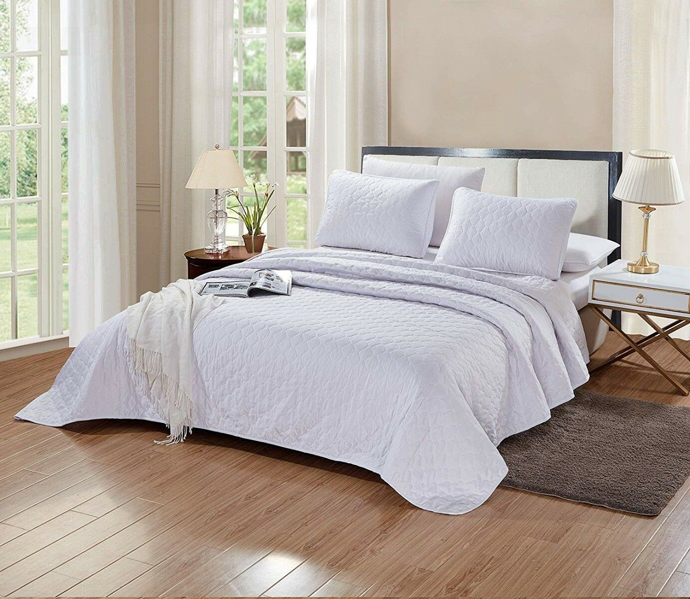 3 Pc KING Size Aria Quilt Set Solid White Microfiber Coverle