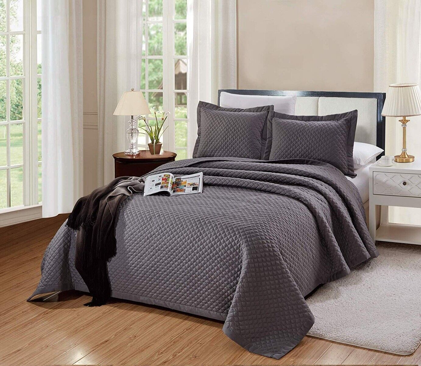3 PC King Size Naples Quilt Solid Dark Grey / Gray Microfibe