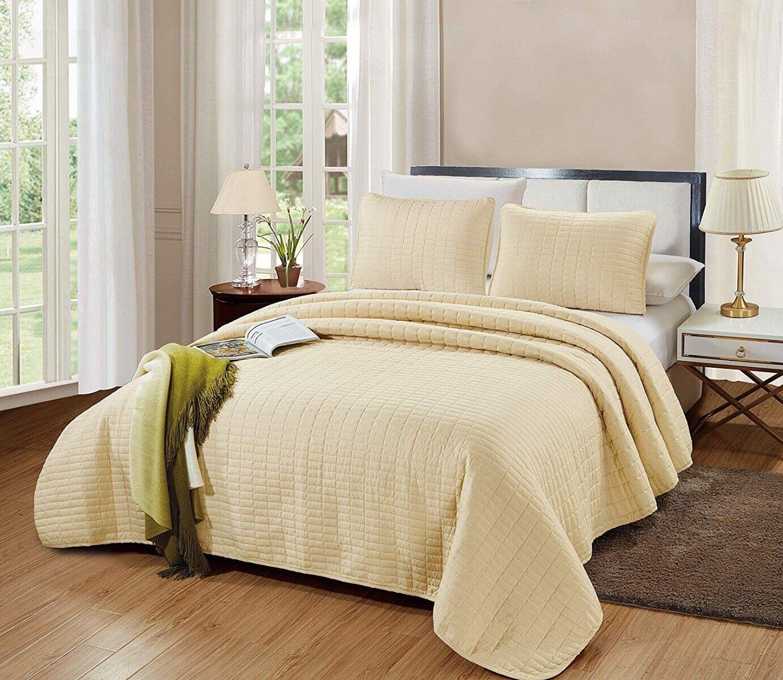 3 Piece QUEEN Size Catena Quilt Set Light Taupe Bedspread Mi