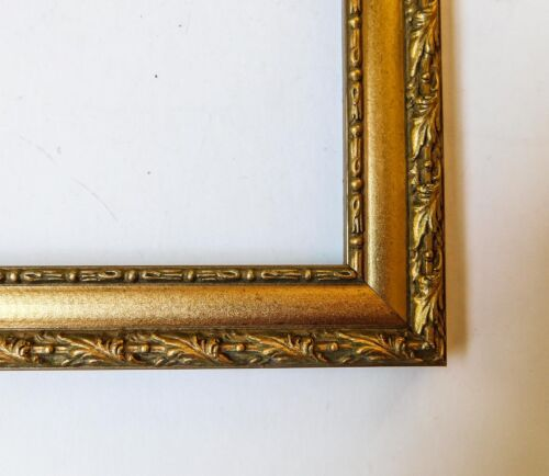 F2 Vintage Mid Century Gold Ornate Carved Leaves Picture Frame Holds 10 x 12