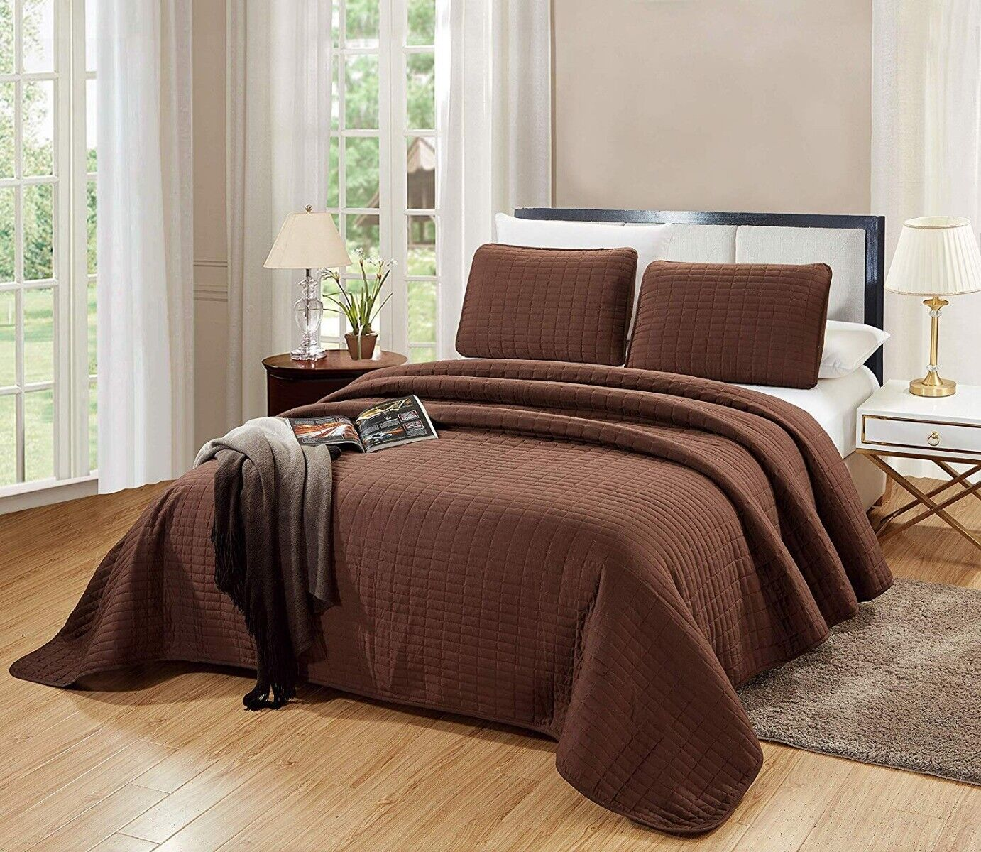 QUEEN/ FULL Size Catena Quilt Set Chocolate Brown Microfiber
