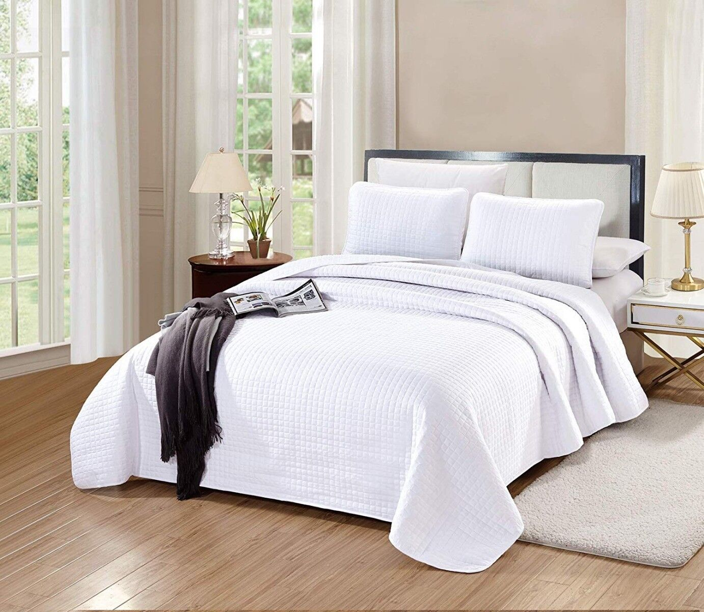 Queen/Full Size Florence Quilt Set Solid White Bedspread Mic