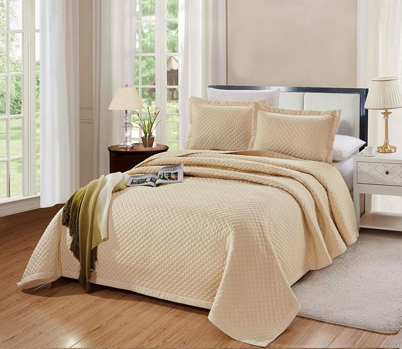3 PC King Size Naples Quilt Solid Light Taupe Bedspread Micr