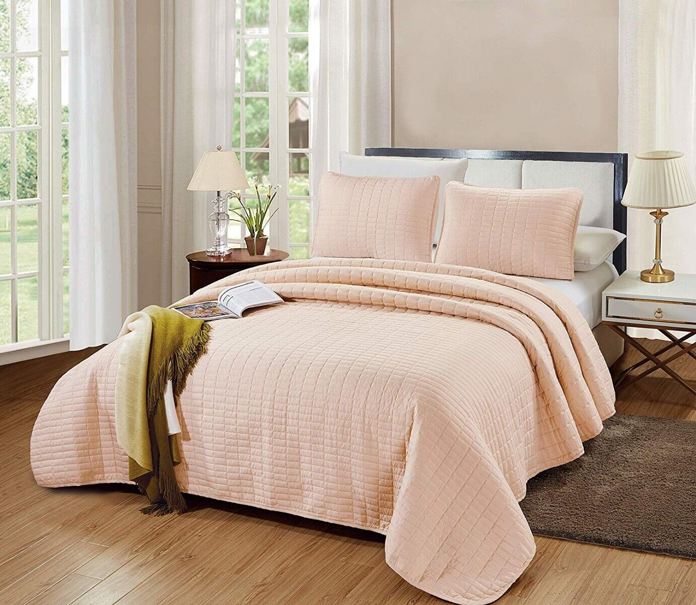 3 Pc Queen / Full Catena Quilt Set Blush Pink Bedspread Micr