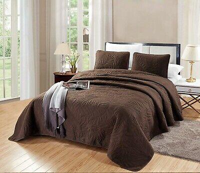 OverSize KING Savannah Quilt Solid Chocolate Brown Bedspread Microfiber Coverlet ()